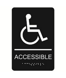 "Accessible with Wheelchair Symbol 6"" x 9"" economy braille signs. Produced with standard designs these ADA signs are an economical way to achieve ADA compliance."