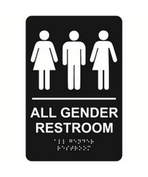 All Gender economy braille signs. Produced with standard designs these ADA signs are an economical way to achieve ADA compliance.