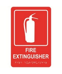 "Fire Extinguisher 6"" x 9"" economy braille signs. Produced with standard designs these ADA signs are an economical way to achieve ADA compliance."