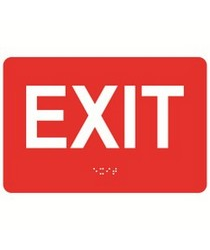 Exit 9″ x 6″ economy braille signs. Produced with standard designs these ADA signs are an economical way to achieve ADA compliance.