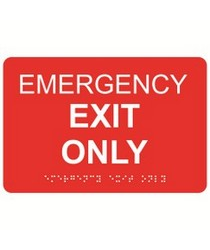 Emergency Exit Only 9″ x 6″ economy braille signs. Produced with standard designs these ADA signs are an economical way to achieve ADA compliance.