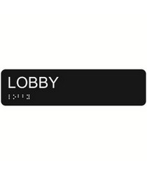 Lobby 2″ x 8″ economy braille signs. Produced with standard designs these ADA signs are an economical way to achieve ADA compliance.