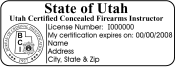 Certified Concealed Firearms Instructor Seal Stamp. This high quality Pre-Inked stamp meets Utah BCI laws and requirements. Xstamper Pre-Inked Stamp.