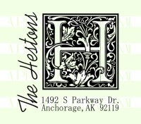 Monogram Last Name Return Address - Wedding custom return address rubber stamp great for stationary, weddings, invitations.