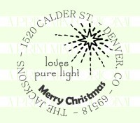 Christmas Star Return Address Stamp-  self inking and rubber stamps great for cards, gifts, and crafts.