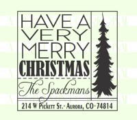 Square Christmas Tree Return Address  self inking and rubber stamps great for cards, gifts, and crafts.