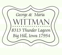 Classy Banner Return Address Stamp stamp custom return address self inking stamp great for stationary, weddings, invitations.