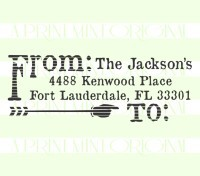 Return Address Stamp, Distressed Arrow  stamp custom return address self inking stamp great for stationary, cards, invitations.