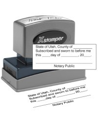 Utah notary Jurat-N18 Xstamper  Stamp, Jurat Utah notary X-Stamper stamp. Our notary supplies conform to Utah notary laws, are manufactured in-house.