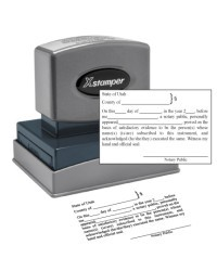 Acknowledgement Specific Notary  pre-inked X-Stamper conforms to state  laws for Acknowledgement.  Utah notary laws, are manufactured in-house.