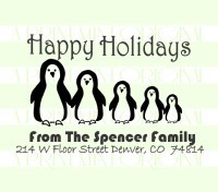 Happy Holidays Penguin Family Return Address rubber stamps great for cards, gifts, and crafts.