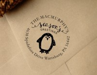 Custom Penguin Christmas Return Address custom return address rubber stamp great for stationary, weddings, invitations.