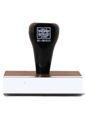 2 x 1 1/4 inch traditional rubber stamp. Perfect for addresses, business, and logos. They are manufactured in-house with high quality all rubber die materials.
