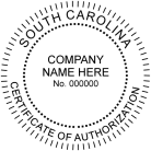 South Carolina Certificate of Authorization Personal embosser conforms  to state  laws. For Professional Architect and Engineers.