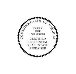 Virginia Certified Residential Real Estate Appraiser Seal