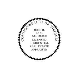 Virginia Licensed Residential Real Estate Appraiser Seal