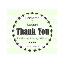 Circle Wedding Thank You Stamp