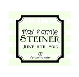 Personalized Name Square Wedding Date Stamp