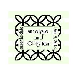Save-The-Date Custom Flower Lattice Wedding Stamp