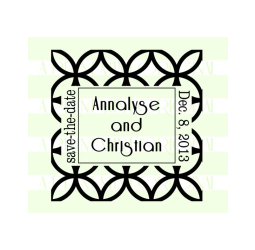 Save-The-Date Custom Flower Lattice Wedding Stamp