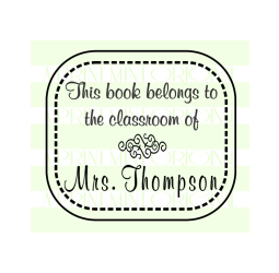 Teacher Name  Stamp - Little School Days Custom Book Stamp
