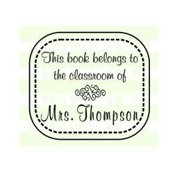 Teacher Name  Stamp - Little School Days Custom Book Stamp