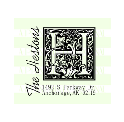 Monogram Last Name Return Address Wedding Stamp