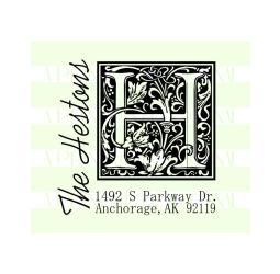Monogram Last Name Return Address Wedding Stamp