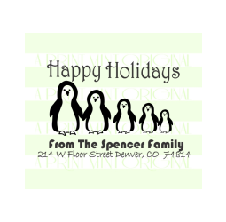 Happy Holidays Custom Penguin Family Return Address Stamp