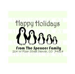 Happy Holidays Custom Penguin Family Return Address Stamp