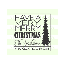 Square Christmas Tree Return Address Stamp