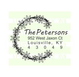 Flower Wreath Custom Wedding Return Address Stamp