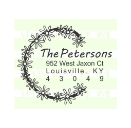 Flower Wreath Custom Wedding Return Address Stamp
