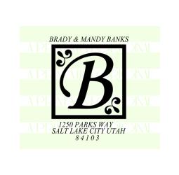 Letter Monogram return address stamp
