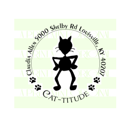 Cat-titude Round cat-lovers return address