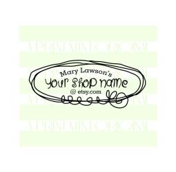 Doodle Business Card Stamp Logo- Custom Etsy Shop Stamp