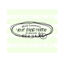 Doodle Business Card Stamp Logo- Custom Etsy Shop Stamp