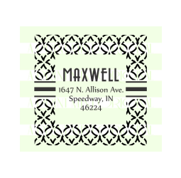 Last Name Return Address Stamp - Monogram wedding Stamp