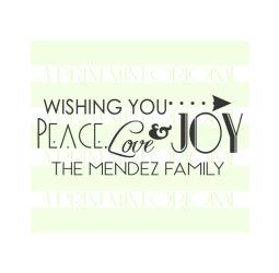Custom Peace, Love & Joy Family Christmas Label Return Address Stamp