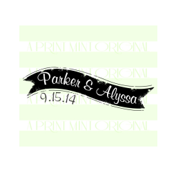 Custom Name Banner Wedding Self-inking or Rubber Stamp