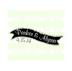 Custom Name Banner Wedding Self-inking or Rubber Stamp
