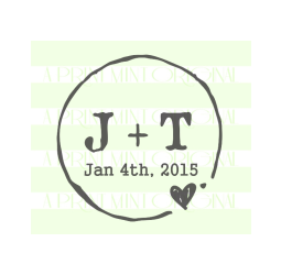 Square Rustic Wedding- Initials and Date Rubber and Self-inking  Stamp
