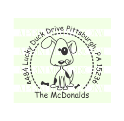 Puppy Dog Custom Return Address Self-inking or Rubber Stamp