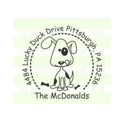 Puppy Dog Custom Return Address Self-inking or Rubber Stamp