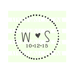 Custom Wedding Stamp, rustic and round- Initials Self inking or Rubber Stamp