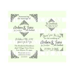 Wedding Invitation Stamp, Save the date stamp, return address Set Rubber Stamp