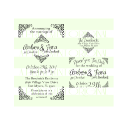 Wedding Invitation Stamp, Save the date stamp, return address Set Rubber Stamp