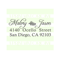 Custom Calligraphy Wedding Return Address Stamp