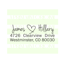 Handwriting Wedding Name with a Heart Return Address Stamp