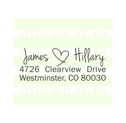 Handwriting Wedding Name with a Heart Return Address Stamp